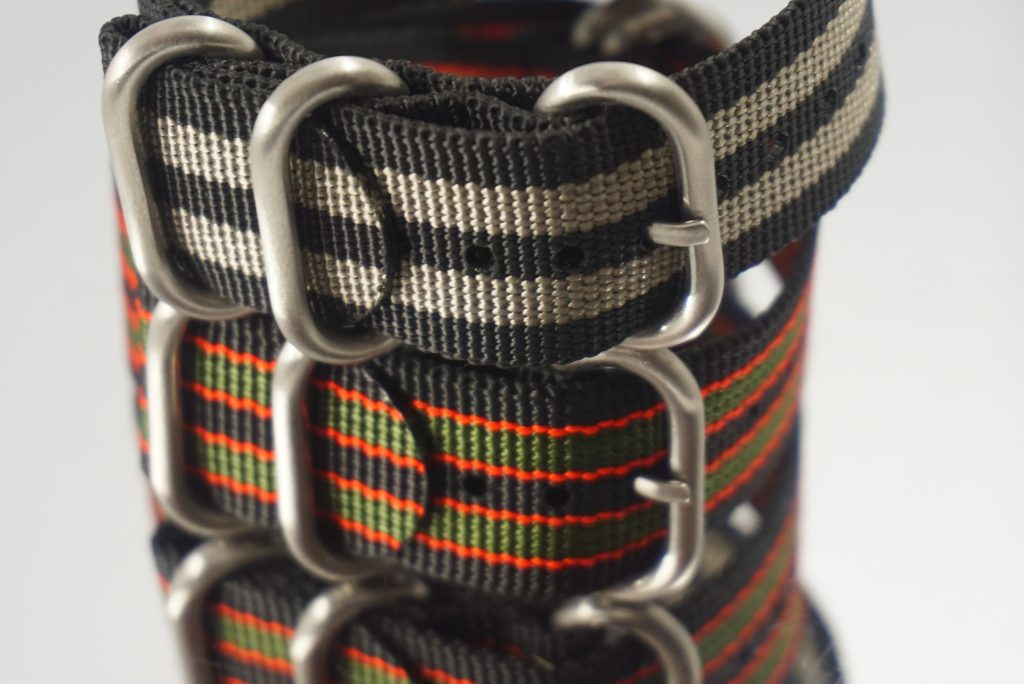 High quality ballistic nylon and stainless steel buckles featured on our NATO straps