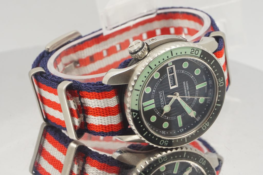 A popular NATO strap for Omega Seamaster and Speedmaster watches
